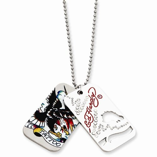 Jewelryweb Ed Hardy Tattoo 2-piece Dog Tag Painted 24inch Necklace