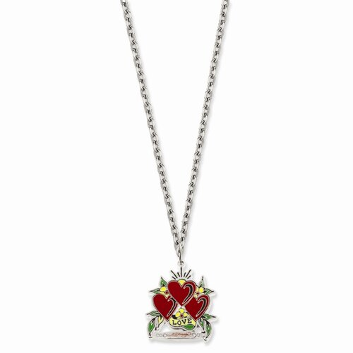 Ed Hardy Triple Heart Love Painted 24inch Necklace