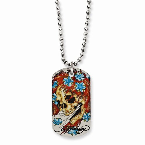 Jewelryweb Stainless Steel Ed Hardy Big Ghost Painted Dog Tag 24inch Necklace
