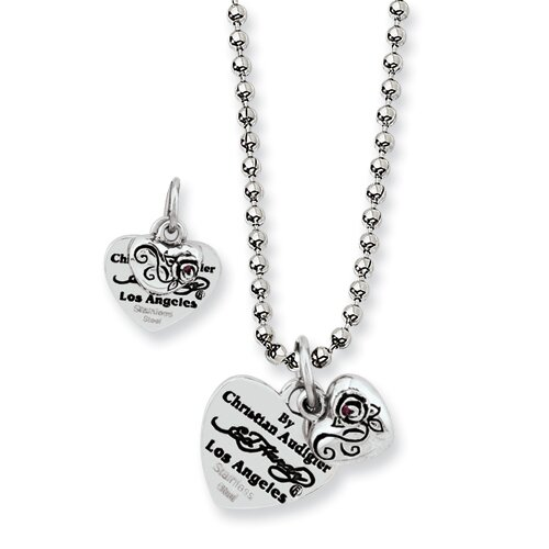 Jewelryweb Ed Hardy Stainless Steel Heart and Small Rose With Red CZ Necklace