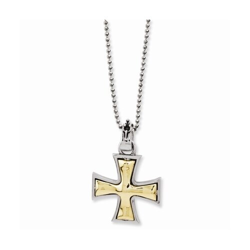 Ed Hardy Stainless Steel and Bronze Maltese Cross 2-Tone Necklace