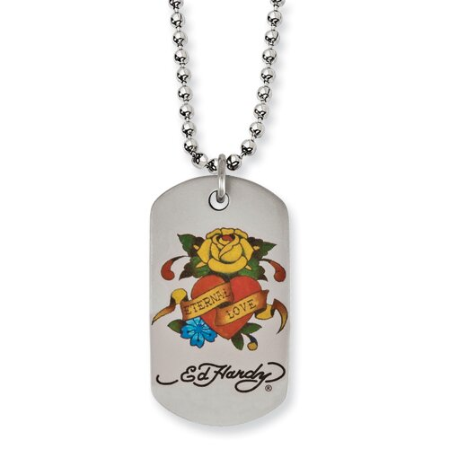Jewelryweb Ed Hardy Stainless Steel Eternal Love Rose Dog Tag Necklace