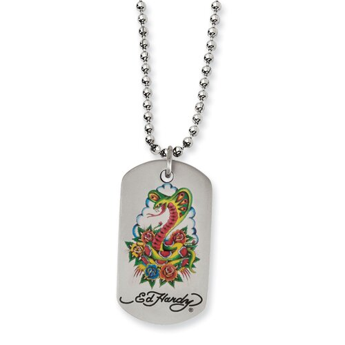 Jewelryweb Ed Hardy Stainless Steel Cobra and Roses Dog Tag Necklace