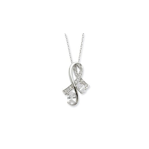 Jewelryweb Sterling Silver CZ Note Of Praise 18inch Necklace