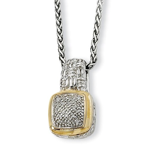 Jewelryweb Sterling Silver With 14k 1/10ct. Diamond Necklace