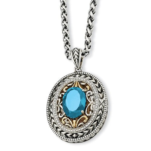 Jewelryweb Sterling Silver With 14k 7.20Swiss Blue Topaz and 1/15ct. Dia 18inch Necklace