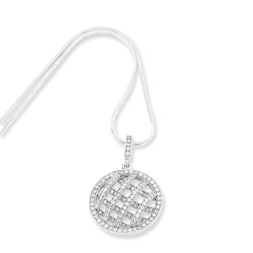 Sterling Silver and CZ Polished Fancy Round Pendant