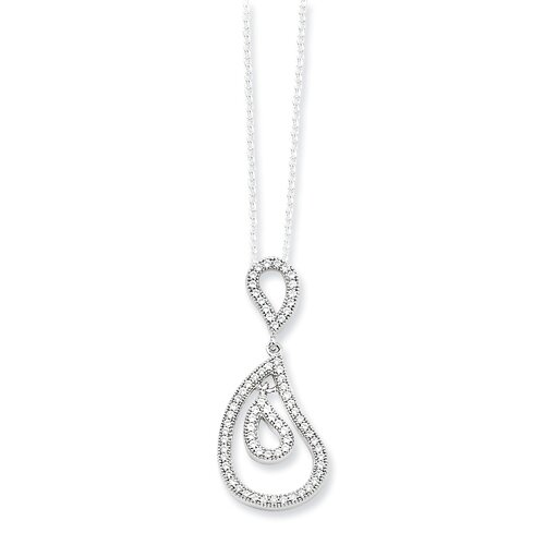 Sterling Silver and CZ Fancy Polished Teardrop Pendant