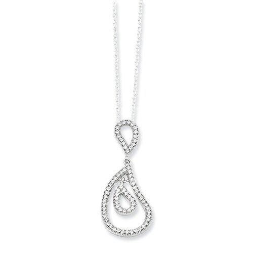 Jewelryweb Sterling Silver and CZ Fancy Polished Teardrop Pendant