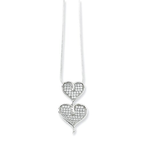 Sterling Silver and CZ Polished Double Heart Necklace - 18 Inch
