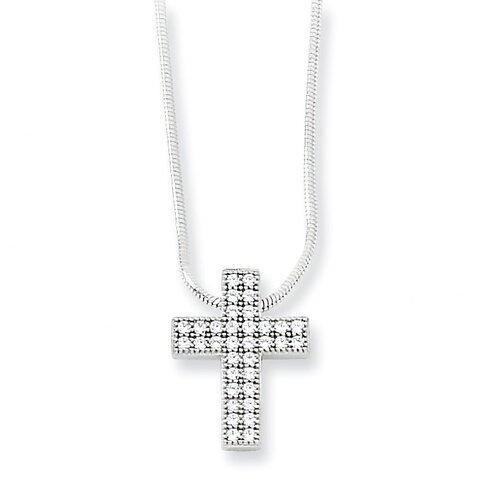 Jewelryweb Sterling Silver and CZ Polished Cross Necklace - 18 Inch