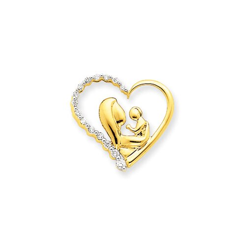 14k Mother and Baby Diamond Heart Slide