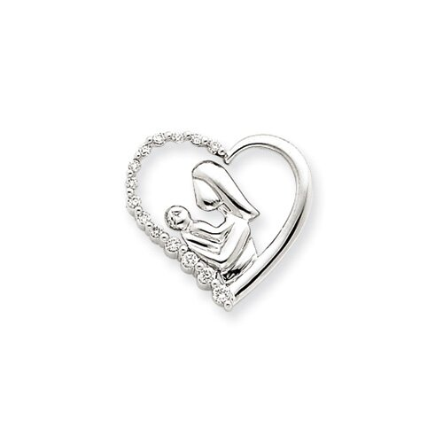 14k White Gold Mother and Baby Diamond Heart Slide
