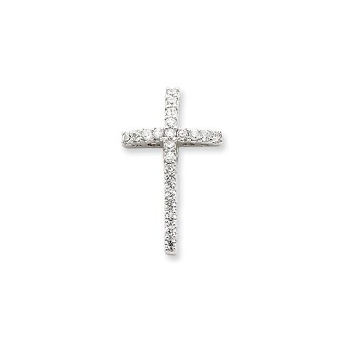 Sterling Silver CZ Cross Slide
