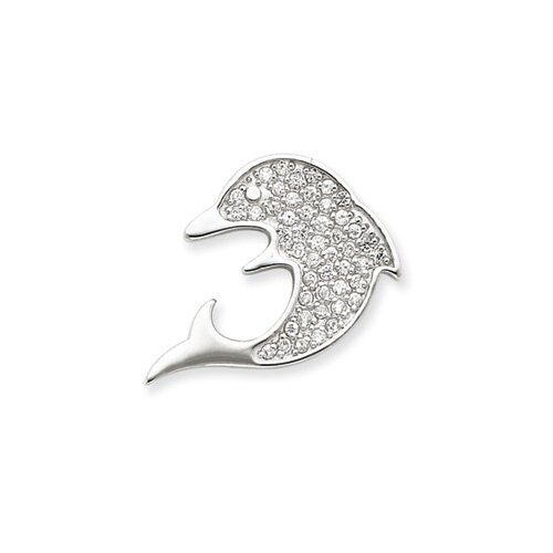 Jewelryweb Sterling Silver CZ Dolphin Chain Slide