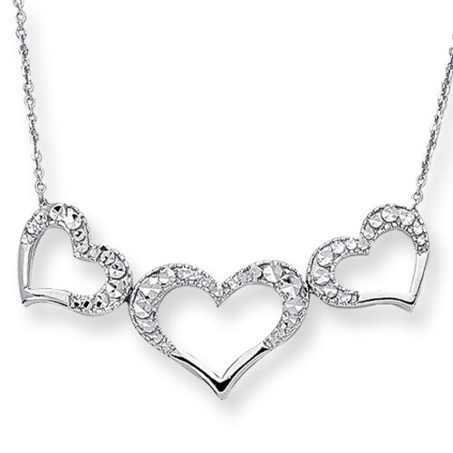 14k Triple Heart Necklace - 18 Inch