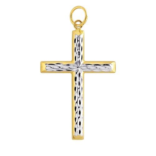 Jewelryweb 14k Two-Tone Diamond-Cut Cross Pendant