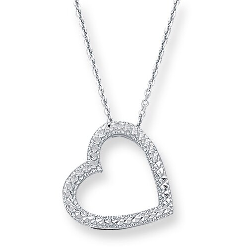 Jewelryweb 14k White Gold Pave Heart With Cab030 Necklace - 18 Inch