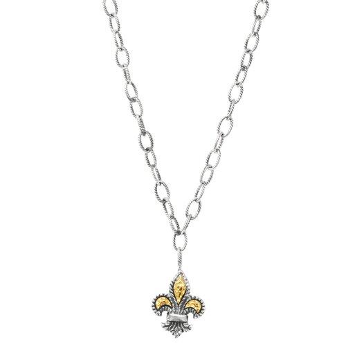 Jewelryweb Sterling Silver 16-20 InchAdjustable 18k Gold Fleur Di Lys Necklace