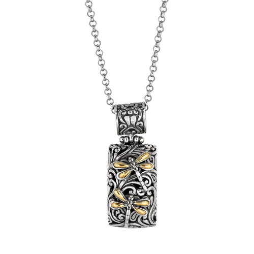 Sterling Silver 18k Gold Designer Fancy Pendant- 18 Inch