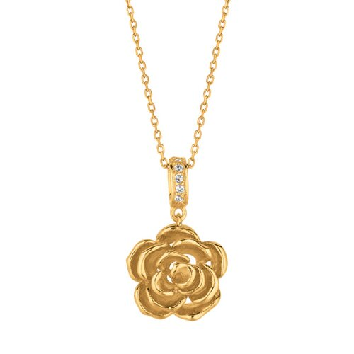 Jewelryweb Sterling Silver Rhodium Yellow Gold Plated Flower Rose CZ Pendant- 18 Inch