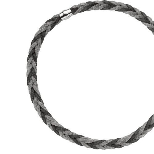 Jewelryweb Sterling Silver Color 10mmRuthenium Rhodium Plated Mesh Braide Necklace - 18 Inch