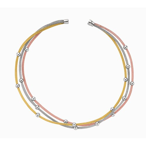 Jewelryweb Sterling Silver Color 3row- Rhodium Plated Mesh Necklace With Bd - 18 Inch