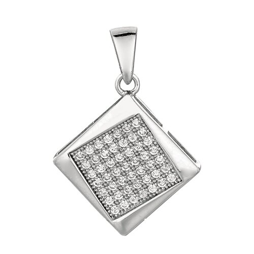 Jewelryweb Sterling Silver CZ Rhodium Plated 49 Crystal Studded Square Pendant- 18 Inch