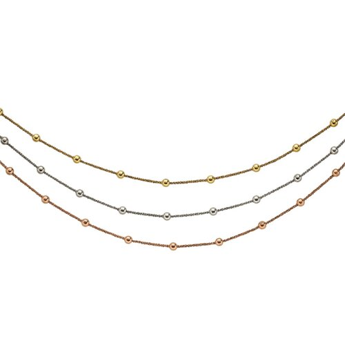 Ster. Silver Color Gold Plated Rose Gold Plated Ruthenium Plated 3-row Sparckle Necklace - 18 ...