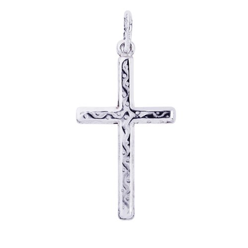 Jewelryweb Sterling Silver Rhodium Plated Cross Pendant