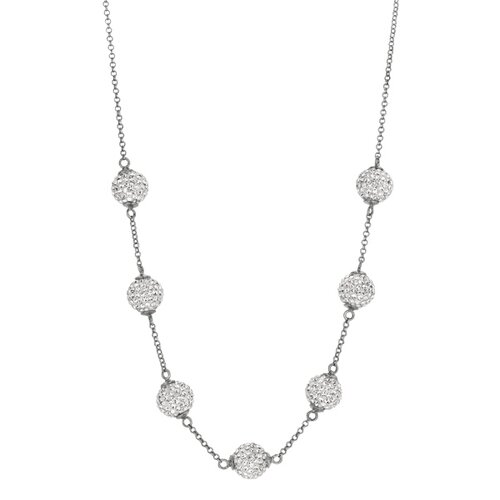 Jewelryweb Sterling Silver Rhodium Plated 7-4mmCrystal Ball Necklace - 17 Inch