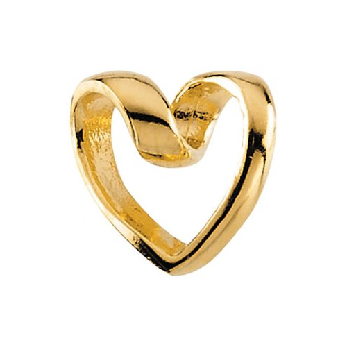 Jewelryweb 14k Gold Child Ribbon Heart Pendant15 In Chain 9x9.5mm