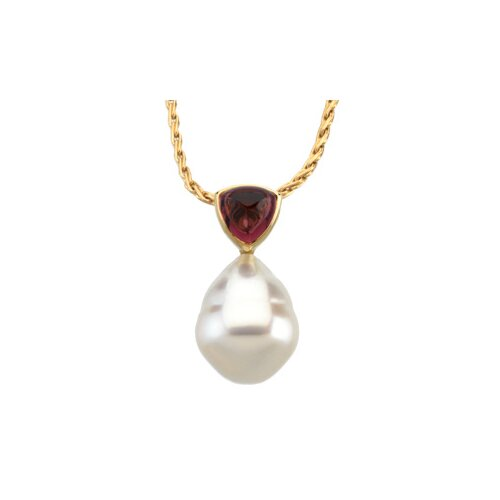 14k Gold S. Sea Cultured Pearl Garnet Pendant