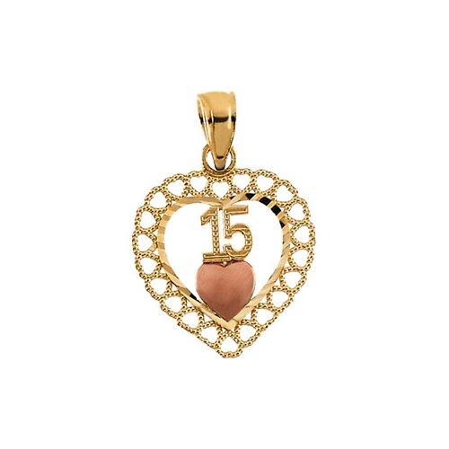 14k Two-Tone 15th Birthday Heart Pendant15x14.5mm