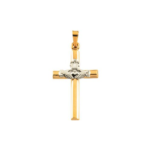 14k Two-Tone Claddagh Cross Pendant25x16mm