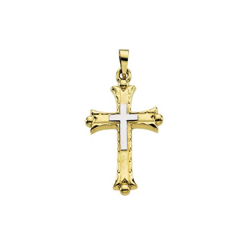 14k Two-Tone Cross Pendant25.5x18mm