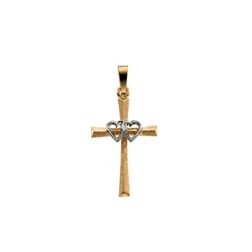 14k Two-Tone Cross PendantWith Double Hearts 20x14mm