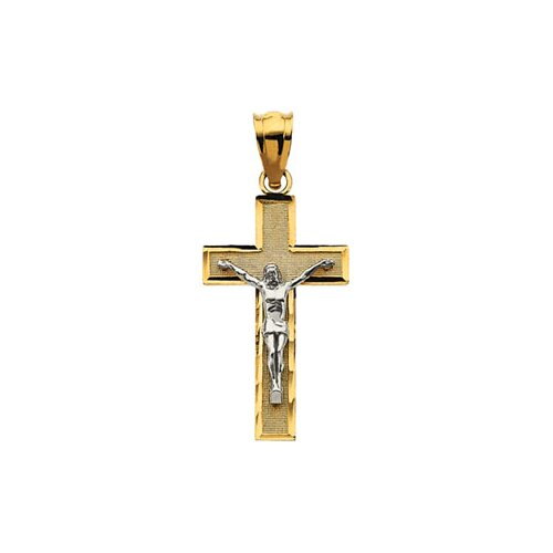 Jewelryweb 14k Two-Tone Crucifix Pendant22x12.75mm