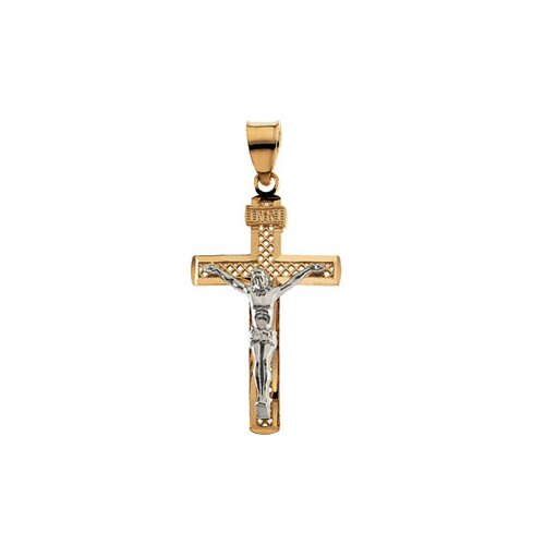 Jewelryweb 14k Two-Tone Crucifix Pendant31x19.75mm