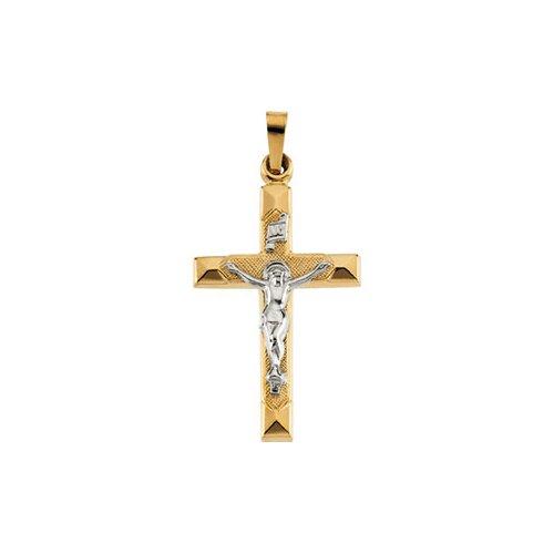 Jewelryweb 14k Two-Tone Crucifix Pendant25x17mm