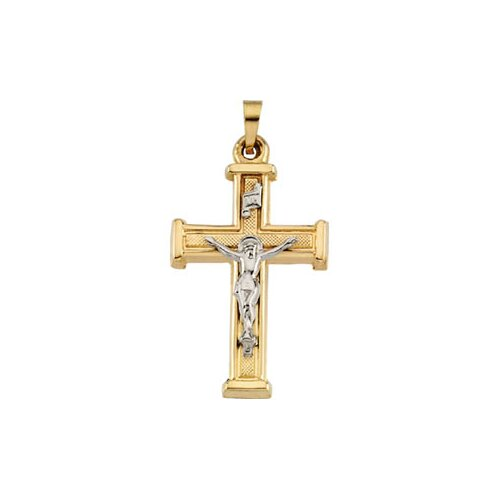 Jewelryweb 14k Two-Tone Crucifix Pendant25x18mm