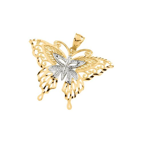Jewelryweb 14k Two-Tone Gold Rhodium Butterfly Pendant24.25x32.5mm