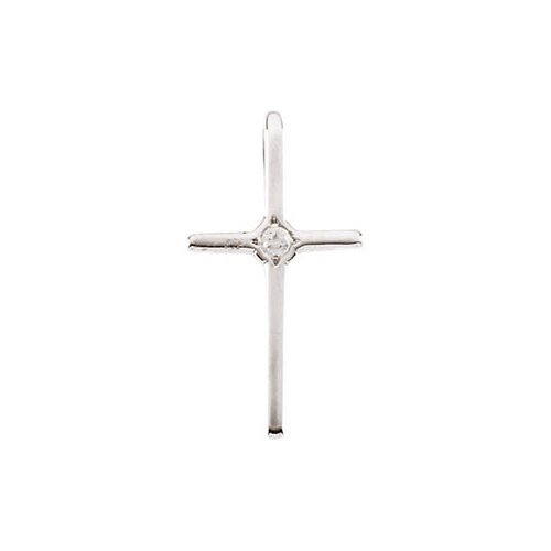 14k White Gold Child Cross PendantDiamond Chain 15.5x8mm