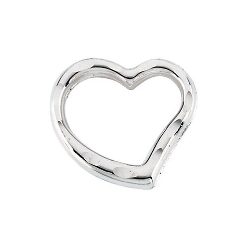 14k White Gold Child Heart PendantWith Chain 11.5x9mm