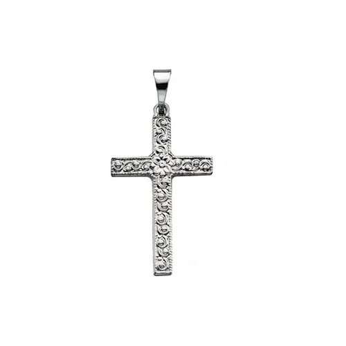 Jewelryweb 14k White Gold Cross Pendant20x13mm