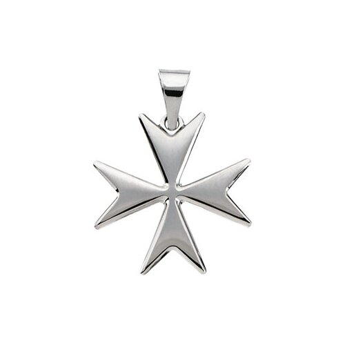 Jewelryweb 14k White Gold Maltese Cross Pendant18mm