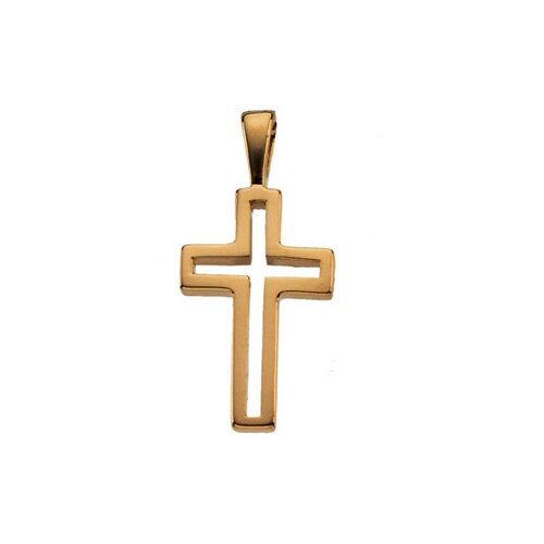 Jewelryweb 14k Yellow Gold Cross Pendant13.5x9.5mm