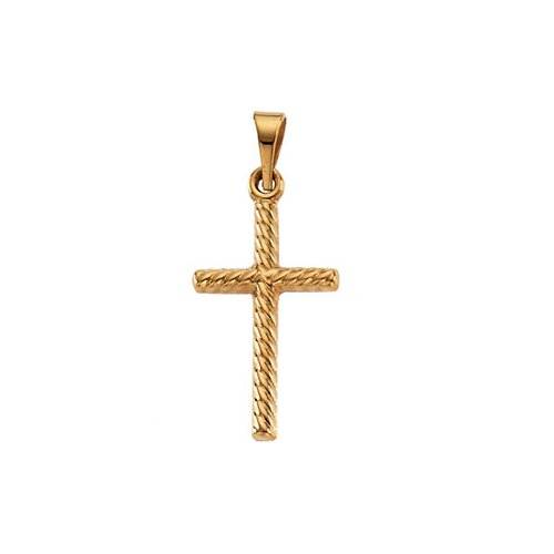 Jewelryweb 14k Yellow Gold Cross Pendant17.5x11mm