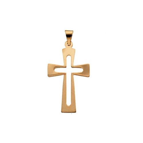 Jewelryweb 14k Yellow Gold Cross Pendant27.5x18mm