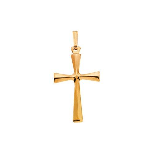 Jewelryweb 14k Yellow Gold Cross Pendant28x19mm